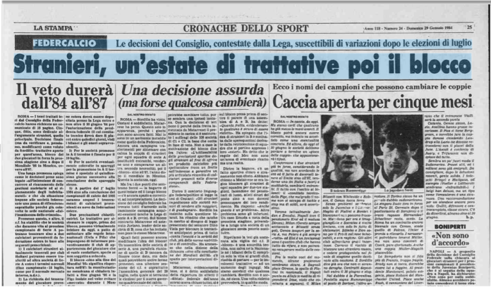 """La Stampa's headline, 29 June 1984: """"Foreigners, a summer of negotiations, and then the blockade"""""""